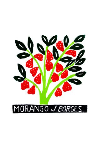 Xilogravura Morango by J. Borges